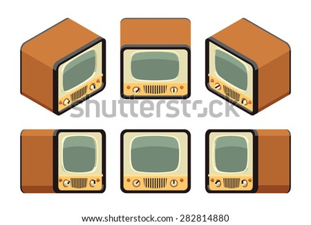 Isometric retro TV sets. The objects are isolated against the white background and shown from different sides - stock vector