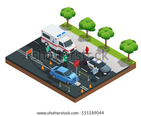 Isometric road accident composition with car bumped into traffic sign and injured driver on emergency stretcher vector illustration