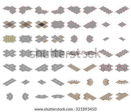 Isometric road, rail and race track vector elements - stock vector