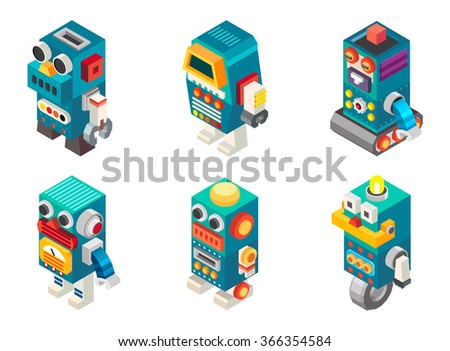 Isometric robots toy, Vector illustration