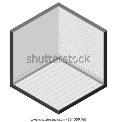 Isometric room box background, vector illustration Medium scale isometry, 2 walls and floor isolated on white