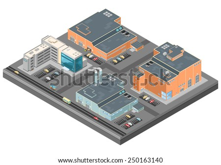 Isometric Scene Industrial Complex. Urban scene. Modern urban with urban air pollution. - stock vector