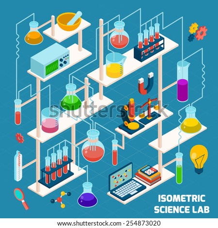 Isometric science lab research process with chemistry and physics 3d icons vector illustration - stock vector