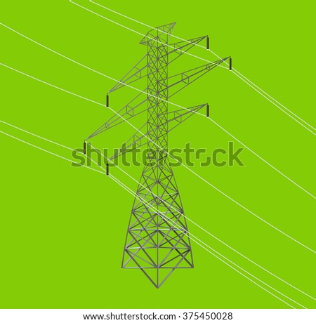 isometric seamless high voltage line and power pylons icon illustration - stock vector
