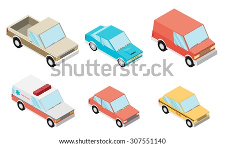 Isometric selection of vehicles - stock vector