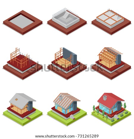Isometric Set Construction Stages Countryside House Stock
