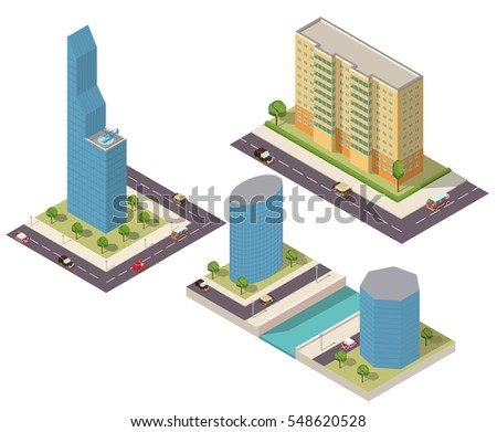 Isometric set of buildings