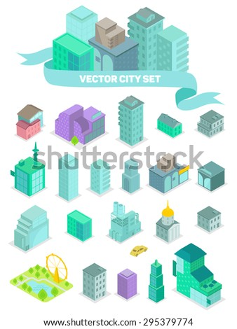 Isometric set of city buildings, shops, park, business center, elements