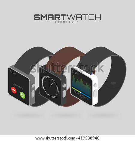 Isometric set of different types of smart watches. Innovation  future technologies. Isolated on white background for your projects and info graphics - stock vector