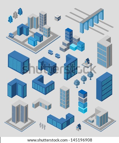 Isometric set of elements for info graphics on gray - stock vector
