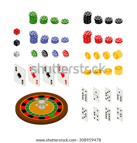 Isometric set of gambling and casino items - roulette, poker chips, playing cards, dice, domino, coins, isolated on white background - stock vector