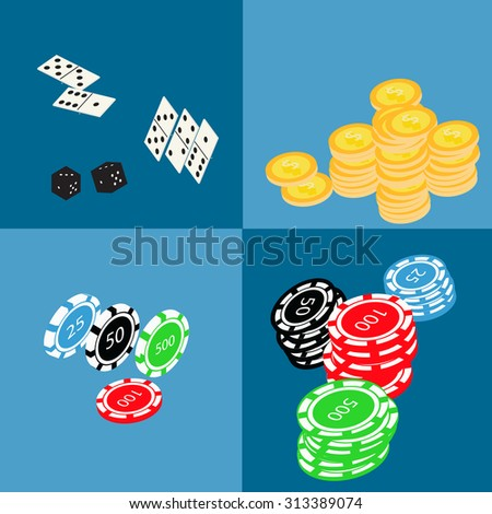 Isometric set of gambling and casino items - roulette, poker chips, playing cards, dice, domino, coins - stock vector