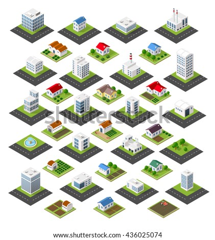 Isometric set of icons isolated town homes, skyscrapers, factories, trees, gardens and streets