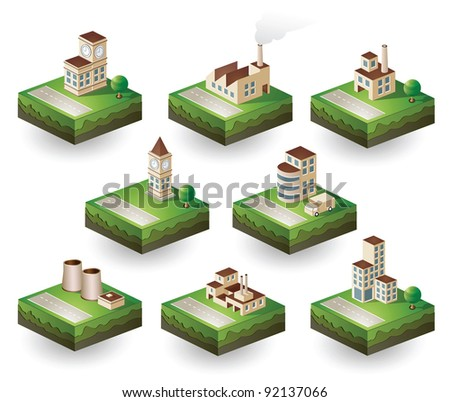 Isometric set of icons on an industrial theme. Urban homes, factories and warehouses in scenes of urban life with roads, trees and transport. - stock vector