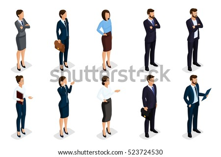 Isometric set of men and women in business attire, of a corporate code of business people. Businessmen on a white background, isolated. Vector illustration.