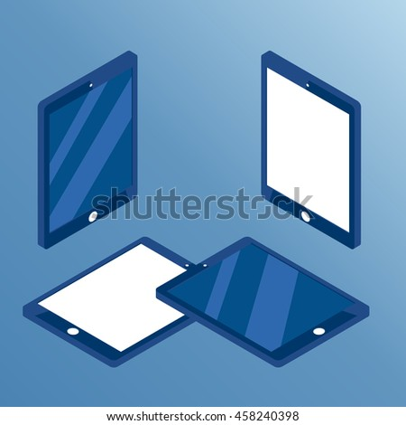 Isometric set of tablets from different sides,  collection of isometric tablets