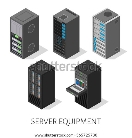 isometric set server equipment isolated background - stock vector