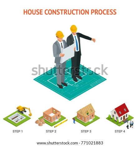 Isometric set stagebystage construction brick house stock for Process for building a house