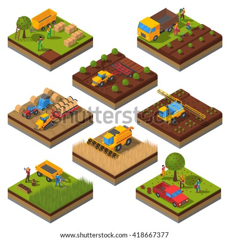 Isometric set with isolated plates of fields and agricultural machines harvesting and people cropping vector illustration - stock vector