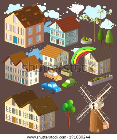 Isometric several Buildings set. Illustration of Various Urban and Rural Houses and Dwellings, Detailed Vector Clip Art with Easy Editable Colors. - stock vector