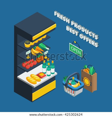 Isometric shelving icon in abstract shop and different accessories like shopping basket  pack and open plate vector illustration - stock vector