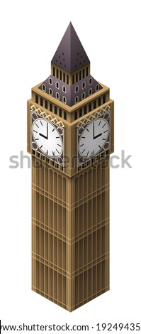 Isometric simple illustration of Big Ben tower in london. Isolated on white. EPS10 vector. - stock vector