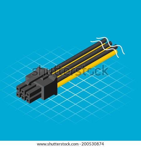 Isometric Six Pin Connector Vector Illustration - stock vector