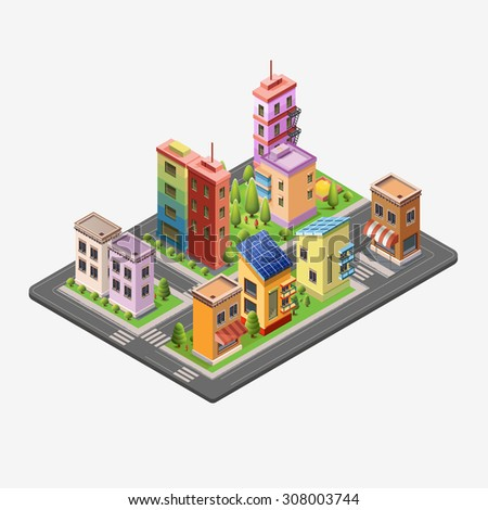 Isometric skyscrapers and office buildings, houses, roads, and parks. Set vector isometrics landmarks. Isolated buildings for your design. Flat vector.