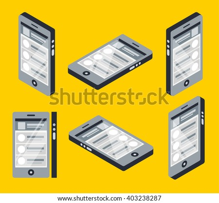Isometric smart phone from different sides colorful vector design