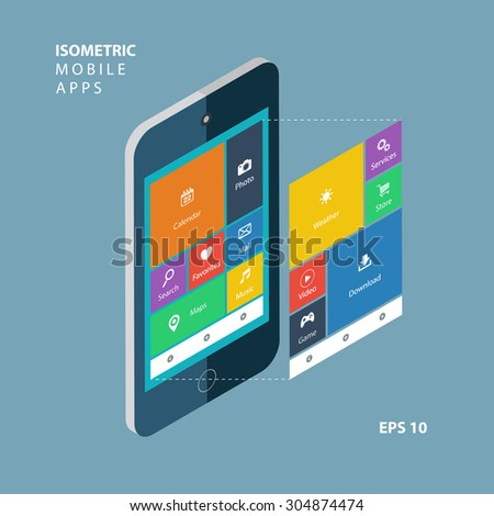 Isometric smartphone with an interface elements. Isometric mobile apps concept. Flat design modern vector illustration.