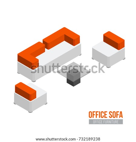 isometric office furniture vector collection. Isometric Sofa, Armchair And Coffee Table. Vector Office Furniture Equipment Collection A