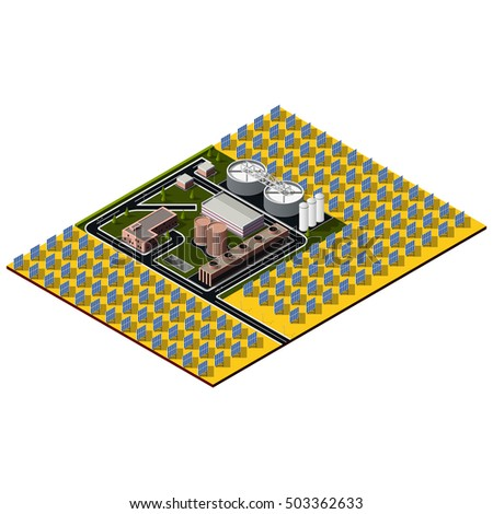 Isometric solar plant. Concept includes control buildings surrounded by solar panels. 3d map. Isometric concept of renewable energy.