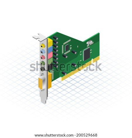 Isometric Sound Card Vector Illustration - stock vector