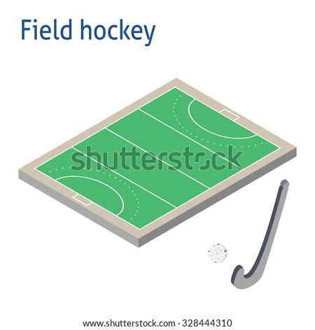 Isometric sport object. Field hockey playground isolated on white. Sports infrastructure vector. Field hockey playground, ball and hockey stick vector. Location for web, app, game, informing
