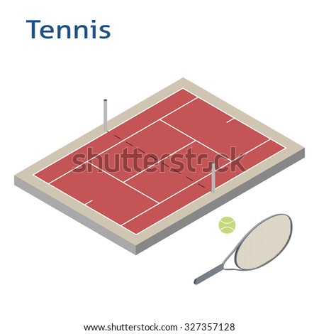 Isometric sport object. Tennis playground isolated on white. Sports infrastructure vector. Tennis court, ball and racket vector - stock vector