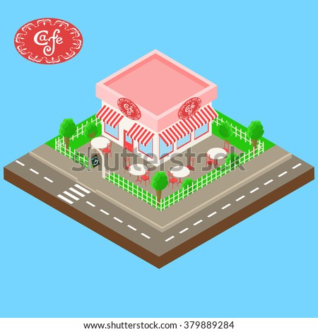 isometric street cafe building with tables, chairs and blackboard. handwritten inscription in a frame - stock vector