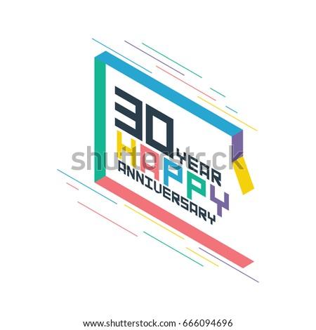 Isometric Style Celebrating Anniversary Symbol Thirty Stock Vector