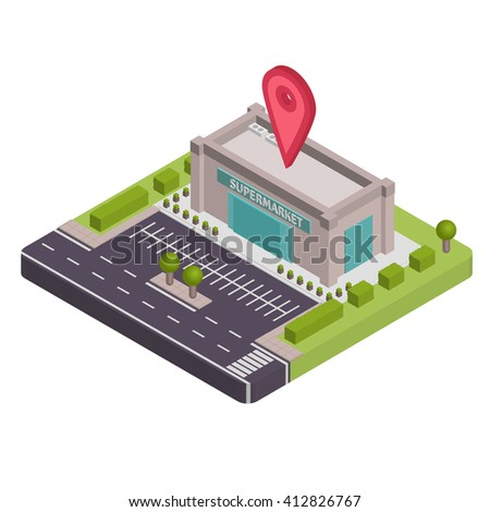 Isometric Supermarket vector illustration