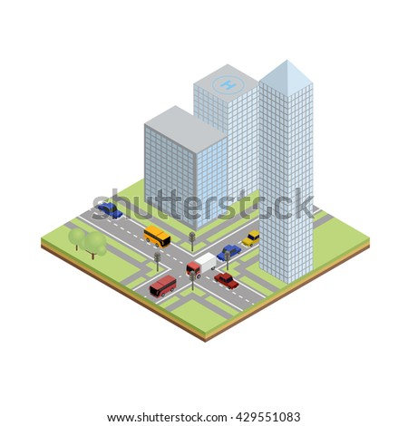 Isometric tile of crossroads with cars, bus, truck, skyscraper