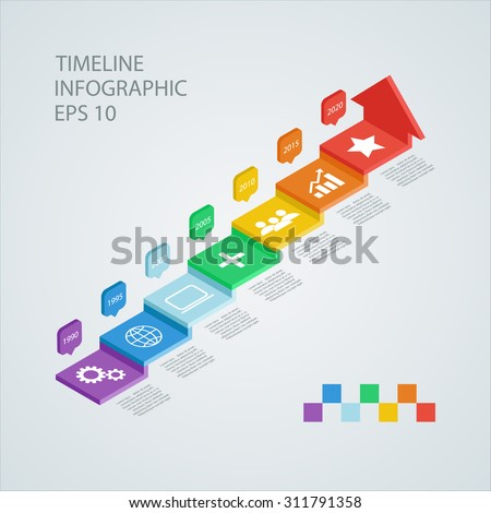 Isometric timeline infographic design template, Vector illustration for workflow layout, diagram, number options, web design. - stock vector