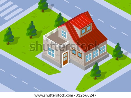 Isometric Town house with a green lawn