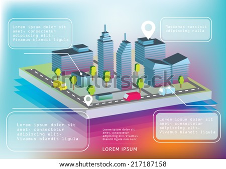 Isometric town view with buildings and transportation. - stock vector