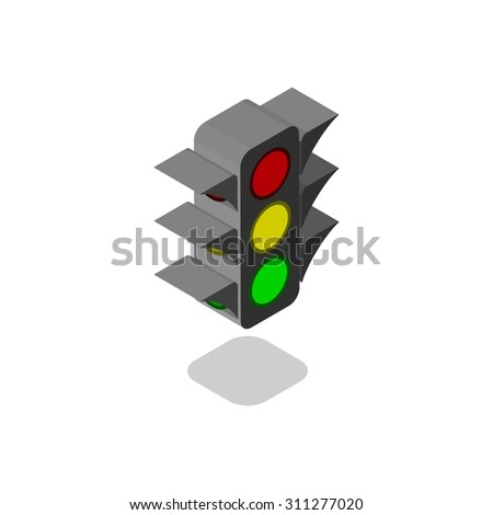 Isometric traffic lights vector - stock vector