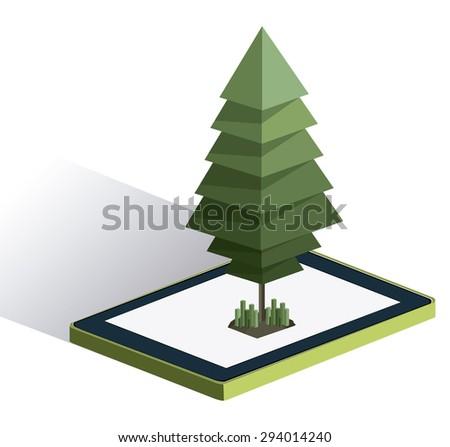 Isometric tree digital design, vector illustration eps 10 - stock vector
