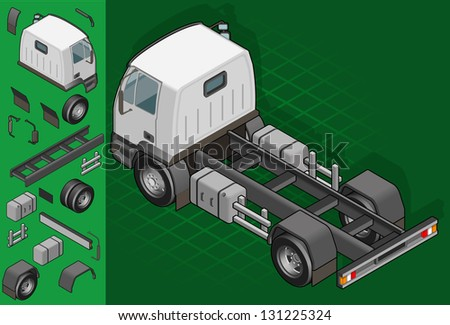 isometric truck solo driving in rear view - stock vector