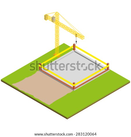 Isometric unfinished brick house construction. Isolated vector illustration.Detailed illustration of a Isometric Building Construction - stock vector