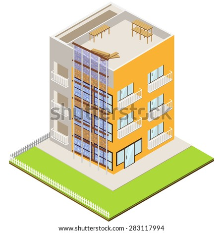 Isometric unfinished brick house construction. Isolated vector illustration. Isometric construction site with cranes and buildings. eps10 - stock vector