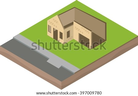 Isometric unfinished brick house construction: walls - stock vector