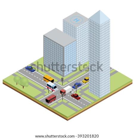 Isometric urban street with ambulance, bus, truck and cars next to buildings on road.
