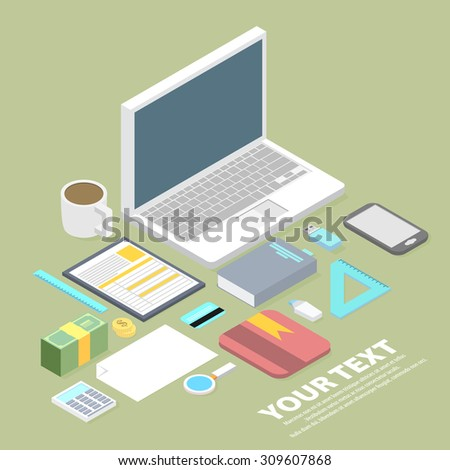 Isometric vector art creative office, workplace. - stock vector